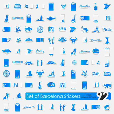 port of spain: Barcelona vector sticker icons with shadow. Paper cut
