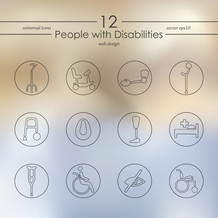 hearing aid: people with disabilities modern icons for mobile interface on blurred background