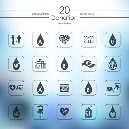 organ donation: iconos modernos de donaci�n para la interfaz m�vil en el fondo borroso