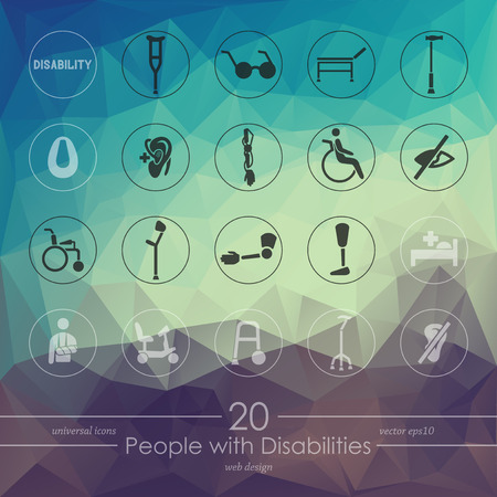 rehabilitation: people with disabilities modern icons for mobile interface on blurred background