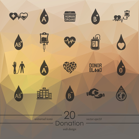 organ donation: donation modern icons for mobile interface on blurred background