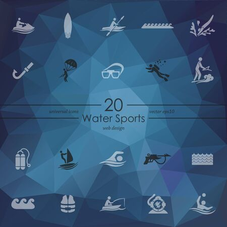 water sport: water sports modern icons for mobile interface on blurred background