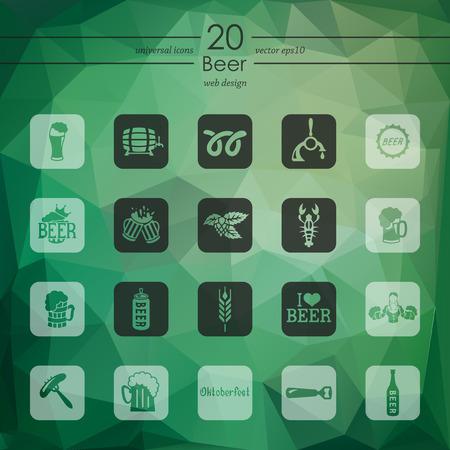 litre: beer modern icons for mobile interface on blurred background Illustration