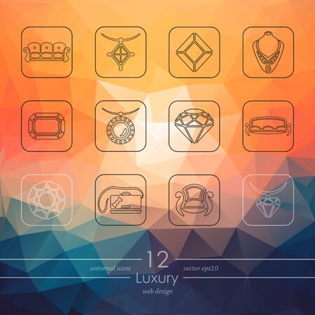wealthy lifestyle: luxury modern icons for mobile interface on blurred background