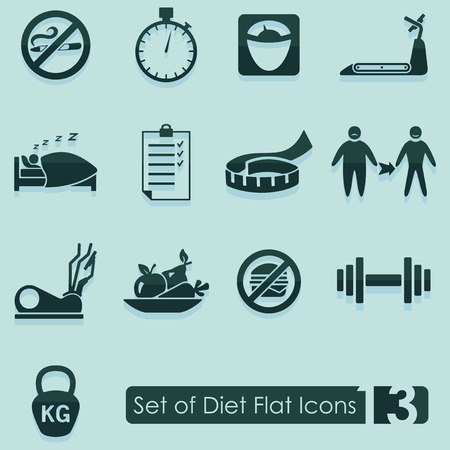 excess: Set of diet flat icons for Web and Mobile Applications Illustration