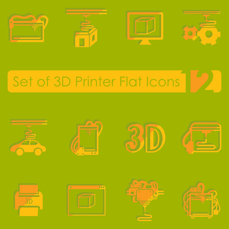 blasting: Set of three d printer flat icons for Web and Mobile Applications