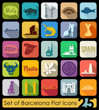 port of spain: Set of Barcelona flat icons for Web and Mobile Applications