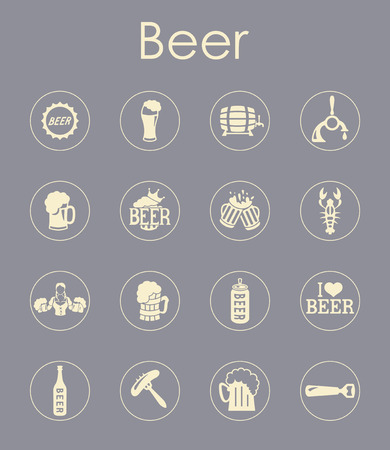 litre: It is a set of beer simple web icons Illustration