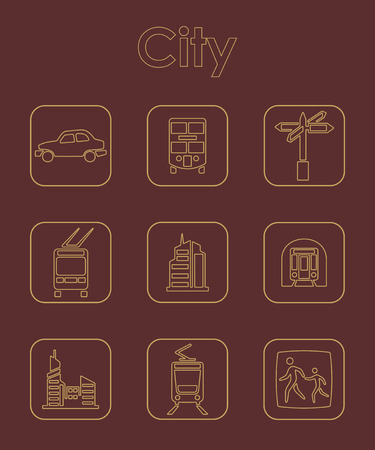 clipart street light: It is a set of city simple web icons Illustration