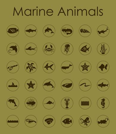marine animals: It is a set of marine animals simple web icons Illustration