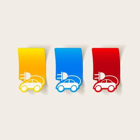 eco car: realistische ontwerp element: eco auto Stock Illustratie