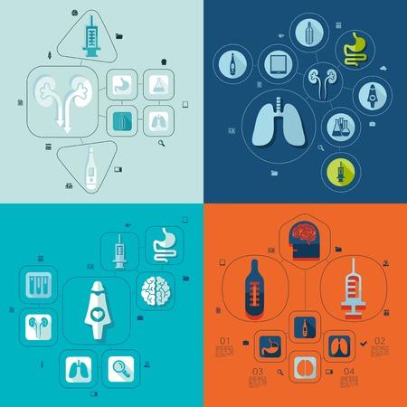 salud: medicina infografía plana