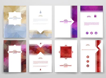events: Multicolored brochures template in trendy style on Merry Christmas and Happy New Year theme. Vector poligonal design.