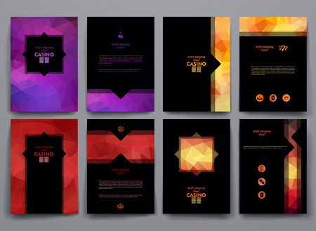 events: Vector design templates with poligonal backgrounds on Casino theme.