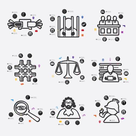 jurisprudencia: línea de la jurisprudencia infografía ilustración. Archivo vectorial completamente editable Vectores
