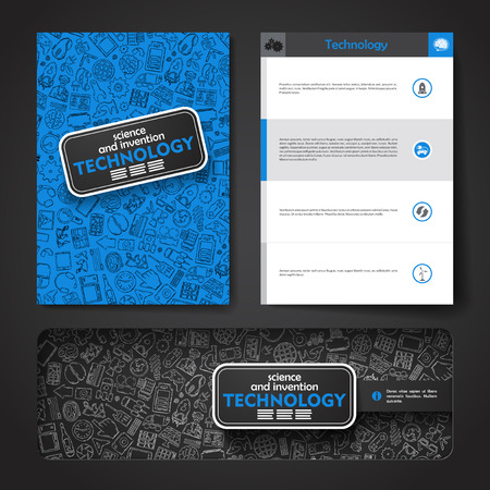 erudite: Vector template with hand drawn doodles Technology theme. Target marketing concept.