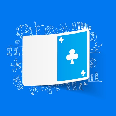 playing card: drawing business formulas. playing card Illustration