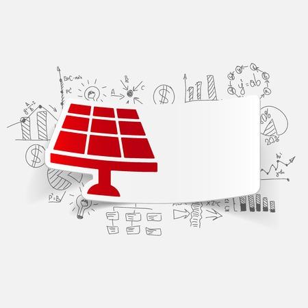 solar battery: drawing business formulas. solar battery Illustration