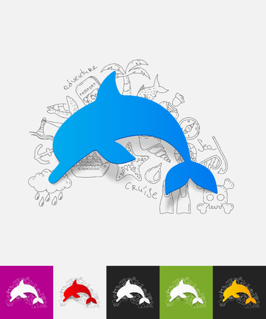 viviparous: hand drawn simple elements with dolphin paper sticker shadow Illustration