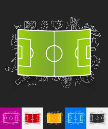playing field: hand drawn simple elements with playing field paper sticker shadow Illustration