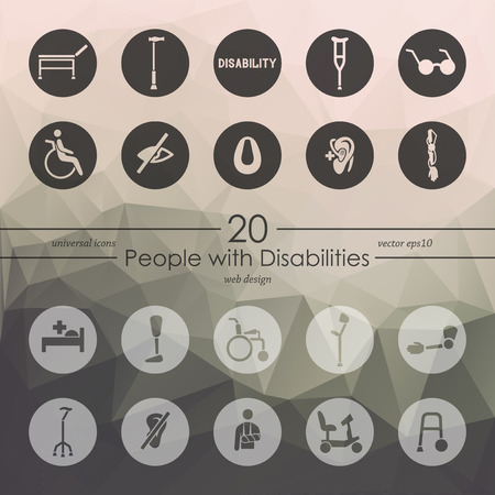 pictogram people: people with disabilities modern icons for mobile interface on blurred background