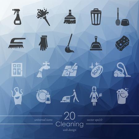 servicio domestico: limpieza de iconos modernos para la interfaz m�vil en el fondo borroso Vectores