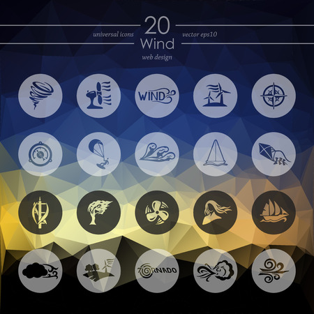 winds: wind modern icons for mobile interface on blurred background