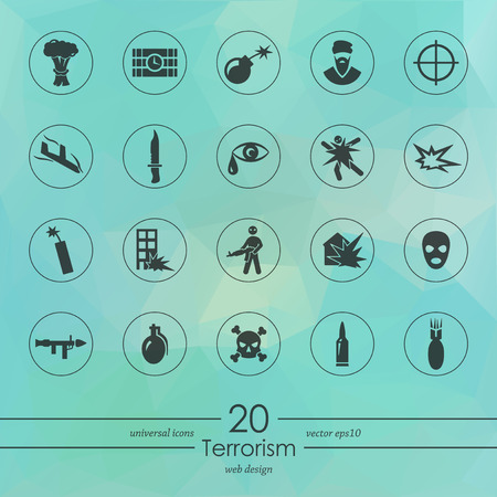 militant: terrorism modern icons for mobile interface on blurred background