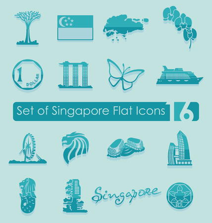 singapore: Set of Singapore flat icons for Web and Mobile Applications Illustration