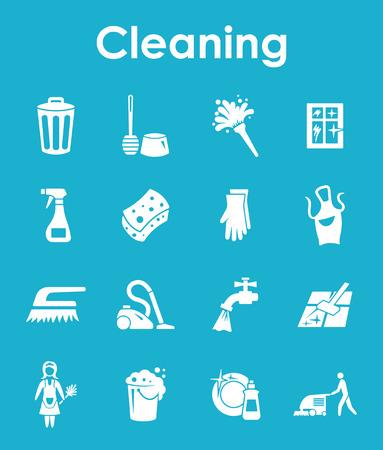 detersivi: Si tratta di un set di pulizia semplici icone web Vettoriali