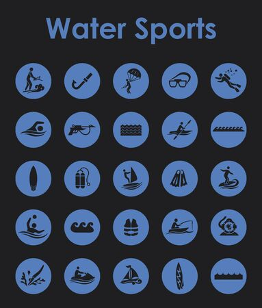 It is a set of water sports simple web icons