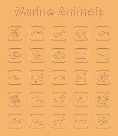 lionfish: It is a set of marine animals simple web icons Illustration