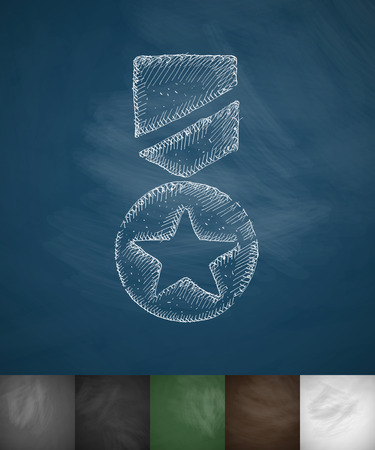 assign: military award icon. Hand drawn vector illustration. Chalkboard Design