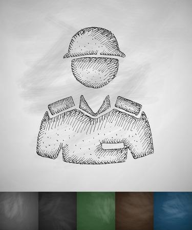 epaulettes: soldier icon. Hand drawn vector illustration. Chalkboard Design