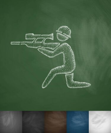 sharpshooter: sharpshooter icon. Hand drawn vector illustration. Chalkboard Design