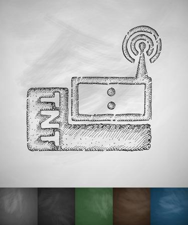icono comunicacion: radio communication icon. Hand drawn vector illustration. Chalkboard Design Vectores