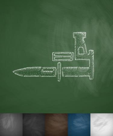 bayonet: bayonet knife icon. Hand drawn vector illustration. Chalkboard Design