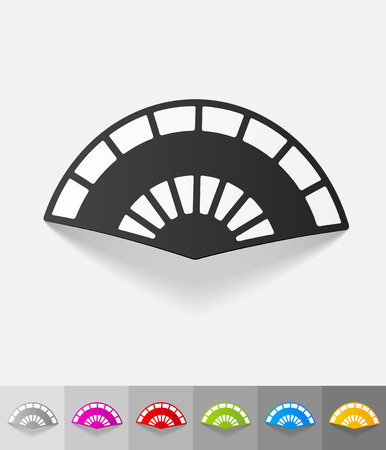 air flow: folding fan paper sticker with shadow. Vector illustration