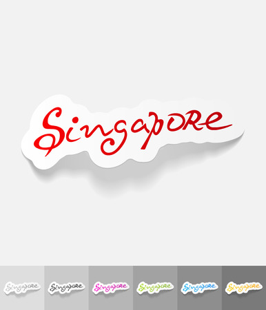 Singapore paper sticker with shadow. Vector illustration