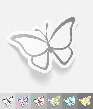 petite: butterfly paper sticker with shadow. Vector illustration