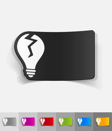 incarnation: broken light bulb paper sticker with shadow. Vector illustration Illustration