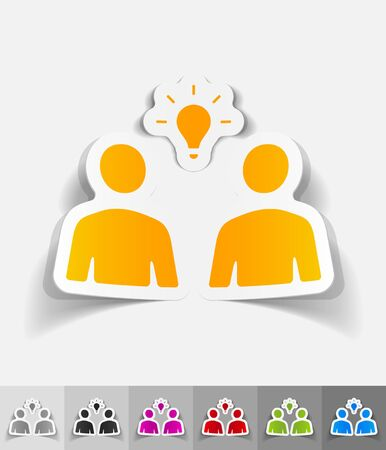 shadow people: people and light bulb paper sticker with shadow. Vector illustration Illustration