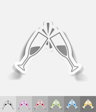 two glasses paper sticker with shadow. Vector illustration