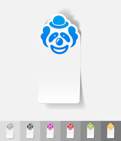 clown face: clown paper sticker with shadow. Vector illustration