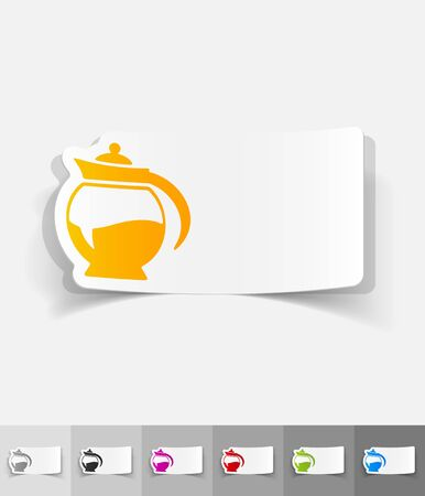 joyfulness: coffee pot paper sticker with shadow. Vector illustration