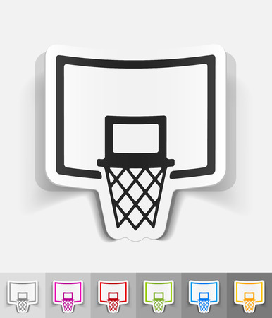 basketball hoop: basketball hoop paper sticker with shadow. Vector illustration