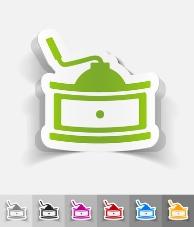 coffee mill: coffee mill paper sticker with shadow. Vector illustration