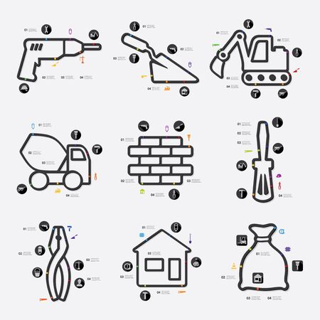roof: building line infographic illustration. Fully editable vector file Illustration