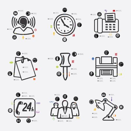 fully editable: office line infographic illustration. Fully editable vector file