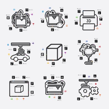 three d: three d printer line infographic illustration. Fully editable vector file